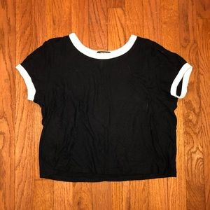 black and white tight forever 21 cropped tee